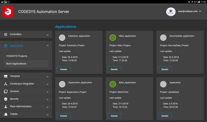 Screenshot CODESYS Automation Server controllers