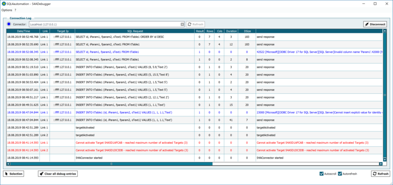 Screenshot SQL4automation Debugger-Oberfläche