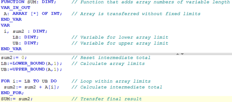 Screenshot CODESYS array transfer