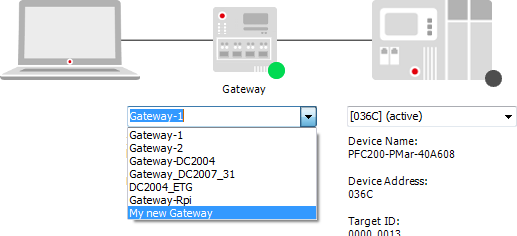 Connection to a gateway server of a different computer